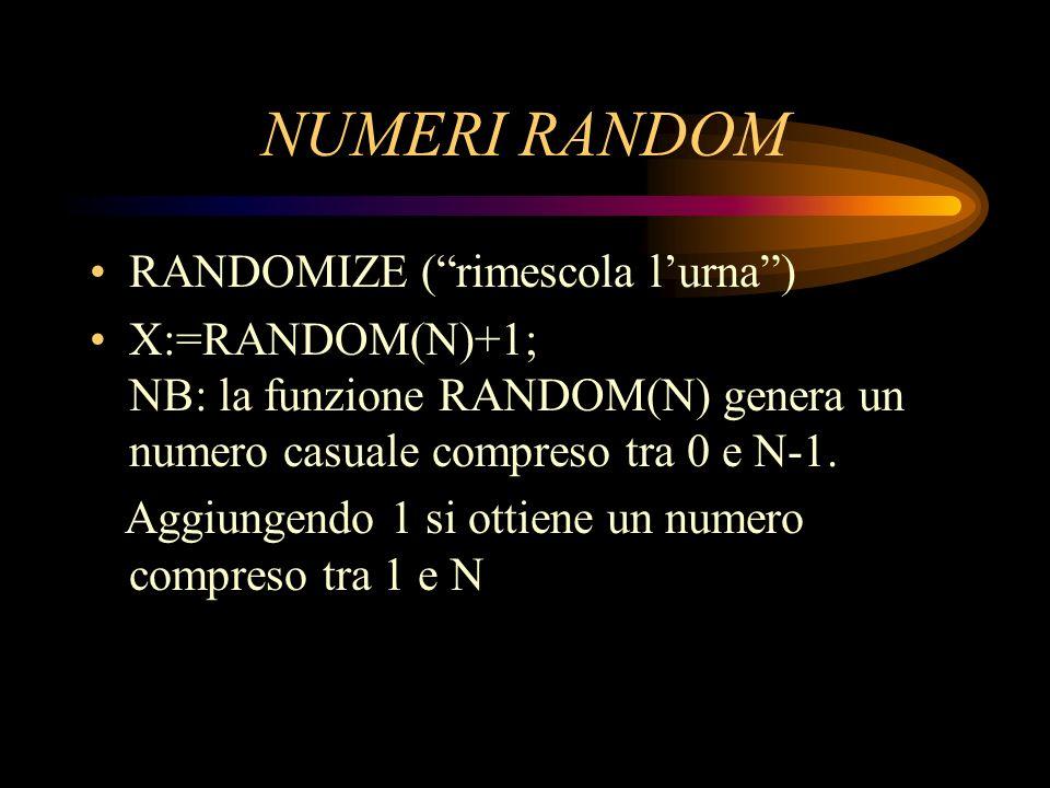 NUMERI RANDOM RANDOMIZE (rimescola lurna) X:=RANDOM(N)+1; NB: la funzione RANDOM(N) genera un numero casuale compreso tra 0 e N-1. Aggiungendo 1 si ot