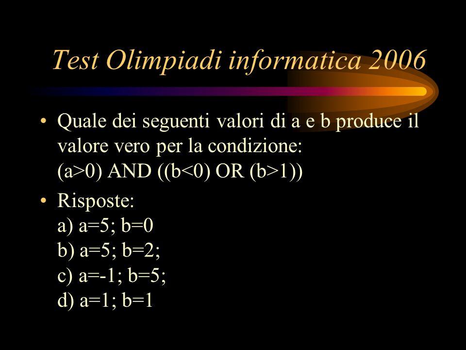 Test Olimpiadi informatica 2006 Quale dei seguenti valori di a e b produce il valore vero per la condizione: (a>0) AND ((b 1)) Risposte: a) a=5; b=0 b