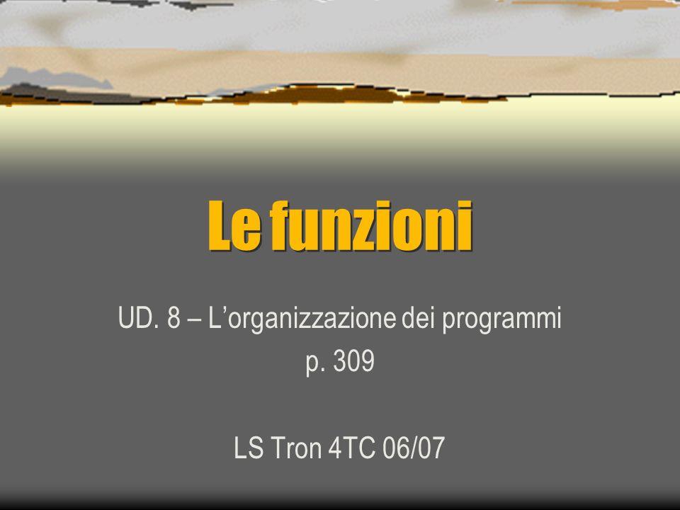Le funzioni UD. 8 – Lorganizzazione dei programmi p. 309 LS Tron 4TC 06/07