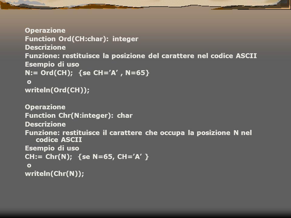 Operazione Function Ord(CH:char): integer Descrizione Funzione: restituisce la posizione del carattere nel codice ASCII Esempio di uso N:= Ord(CH); {s