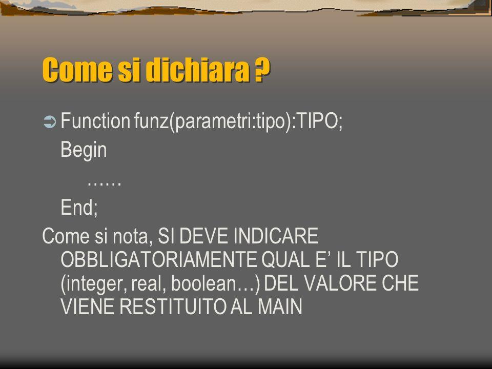 Come si dichiara ? Function funz(parametri:tipo):TIPO; Begin …… End; Come si nota, SI DEVE INDICARE OBBLIGATORIAMENTE QUAL E IL TIPO (integer, real, b
