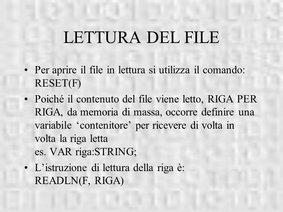 LETTURA DEL FILE Per aprire il file in lettura si utilizza il comando: RESET(F) Poiché il contenuto del file viene letto, RIGA PER RIGA, da memoria di
