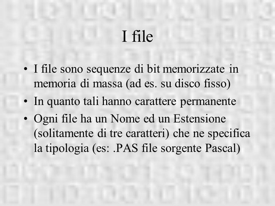 I file I file sono sequenze di bit memorizzate in memoria di massa (ad es. su disco fisso) In quanto tali hanno carattere permanente Ogni file ha un N