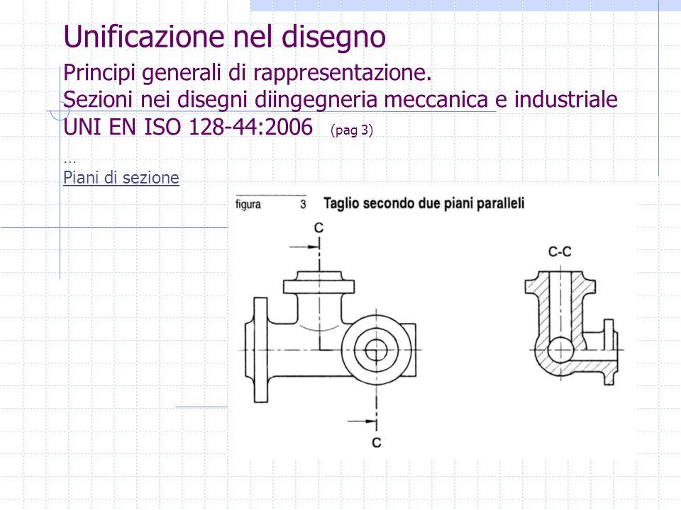 Unificazione nel disegno Principi generali di rappresentazione. Sezioni nei disegni diingegneria meccanica e industriale UNI EN ISO 128-44:2006 (pag 3