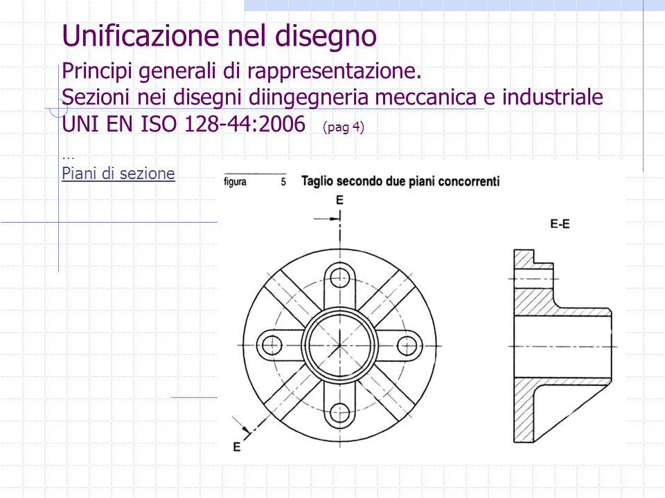 Unificazione nel disegno Principi generali di rappresentazione. Sezioni nei disegni diingegneria meccanica e industriale UNI EN ISO 128-44:2006 (pag 4