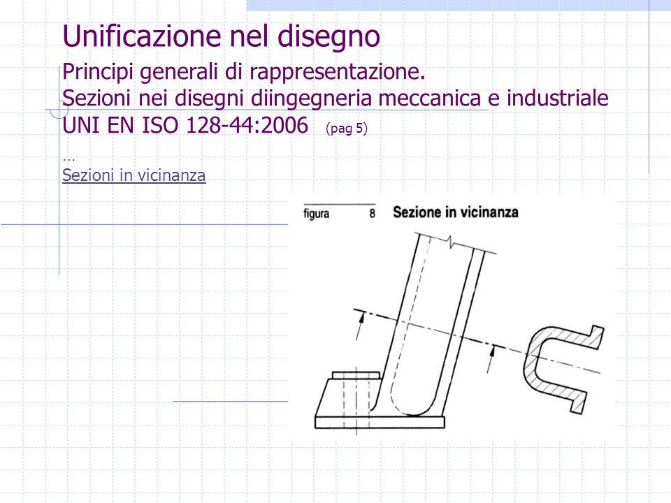 Unificazione nel disegno Principi generali di rappresentazione. Sezioni nei disegni diingegneria meccanica e industriale UNI EN ISO 128-44:2006 (pag 5