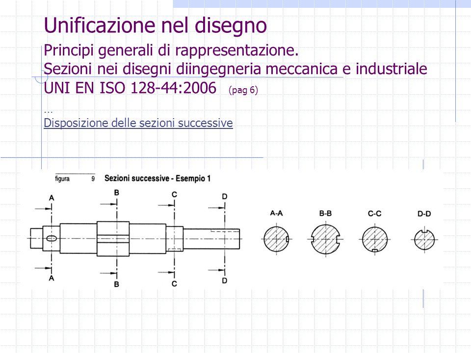 Unificazione nel disegno Principi generali di rappresentazione. Sezioni nei disegni diingegneria meccanica e industriale UNI EN ISO 128-44:2006 (pag 6