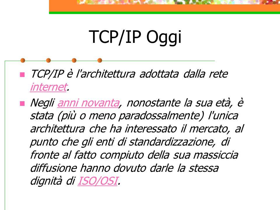 TCP/IP Oggi TCP/IP è l'architettura adottata dalla rete internet. internet Negli anni novanta, nonostante la sua età, è stata (più o meno paradossalme