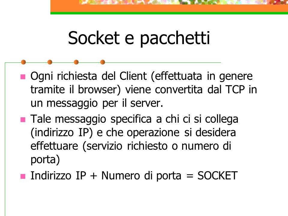 Socket e pacchetti Ogni richiesta del Client (effettuata in genere tramite il browser) viene convertita dal TCP in un messaggio per il server. Tale me