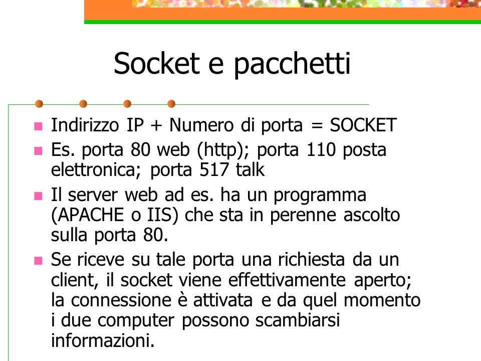 Socket e pacchetti Indirizzo IP + Numero di porta = SOCKET Es. porta 80 web (http); porta 110 posta elettronica; porta 517 talk Il server web ad es. h