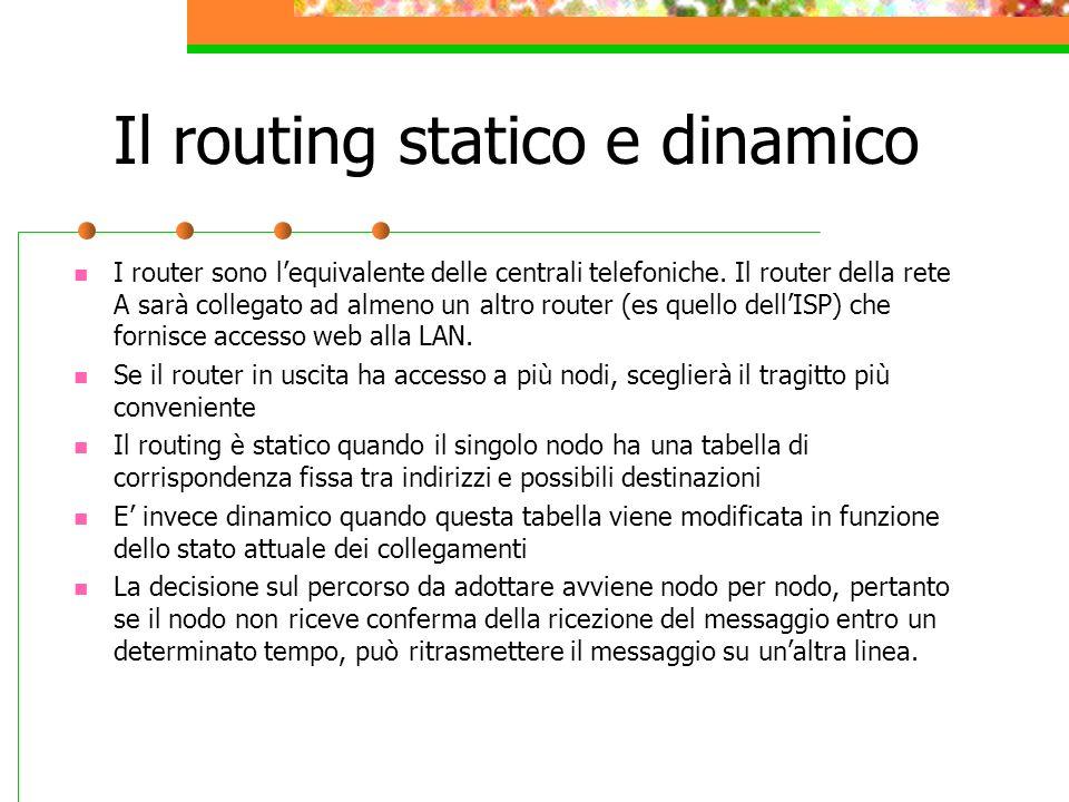 Il routing statico e dinamico I router sono lequivalente delle centrali telefoniche. Il router della rete A sarà collegato ad almeno un altro router (