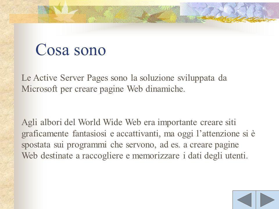 Le Active Server Pages sono la soluzione sviluppata da Microsoft per creare pagine Web dinamiche.
