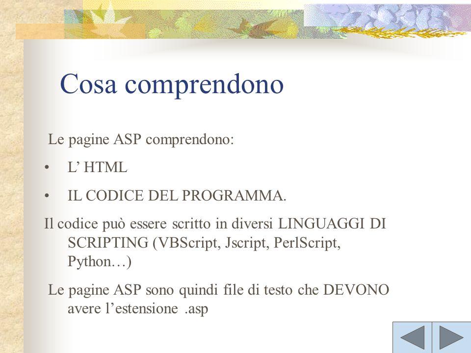 Le pagine ASP comprendono: L HTML IL CODICE DEL PROGRAMMA. Il codice può essere scritto in diversi LINGUAGGI DI SCRIPTING (VBScript, Jscript, PerlScri