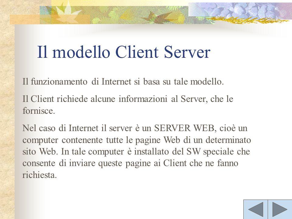 Il funzionamento di Internet si basa su tale modello. Il Client richiede alcune informazioni al Server, che le fornisce. Nel caso di Internet il serve