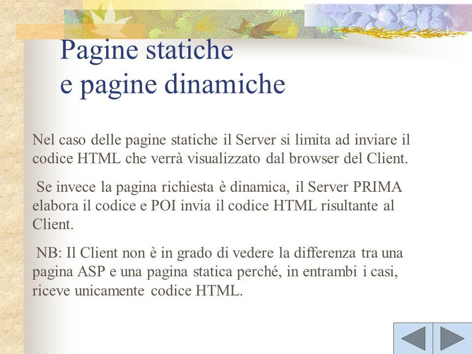 Nel caso delle pagine statiche il Server si limita ad inviare il codice HTML che verrà visualizzato dal browser del Client.