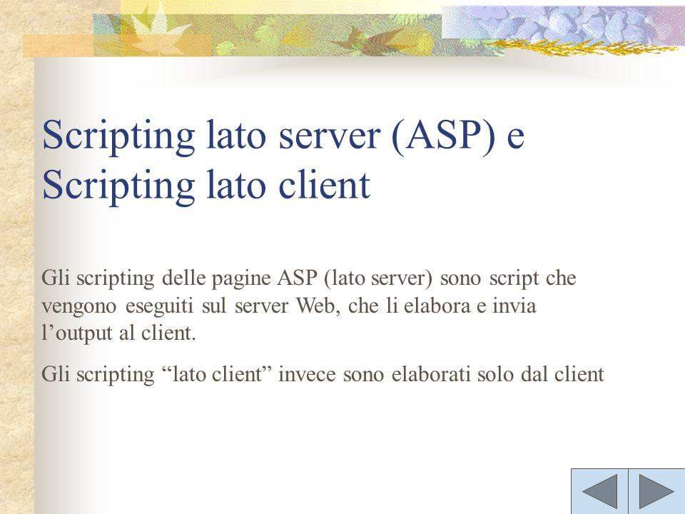 Gli scripting delle pagine ASP (lato server) sono script che vengono eseguiti sul server Web, che li elabora e invia loutput al client. Gli scripting