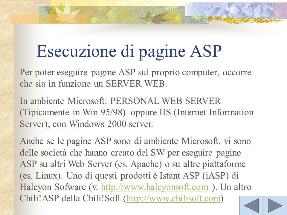 Per poter eseguire pagine ASP sul proprio computer, occorre che sia in funzione un SERVER WEB. In ambiente Microsoft: PERSONAL WEB SERVER (Tipicamente