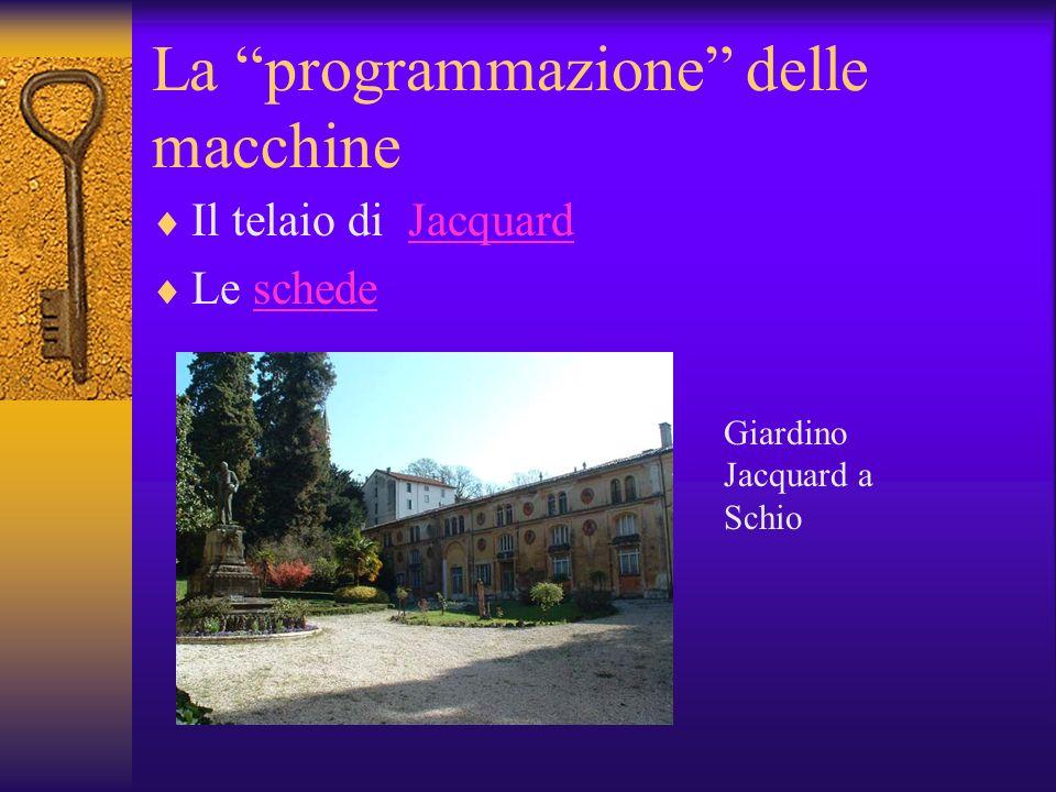 La programmazione delle macchine Il telaio di JacquardJacquard Le schedeschede Giardino Jacquard a Schio