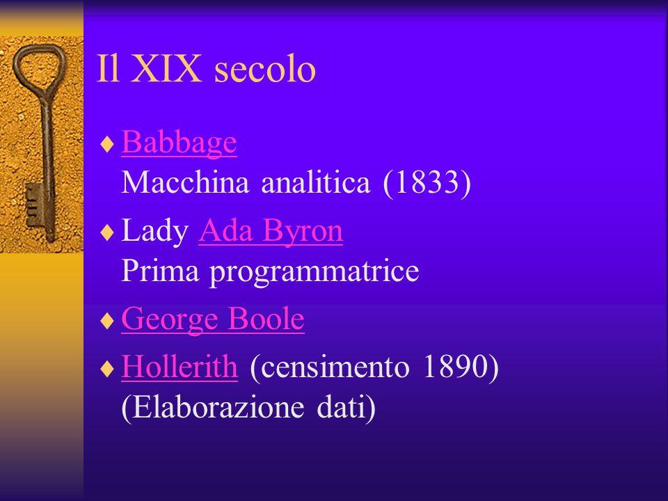 Il XIX secolo Babbage Macchina analitica (1833) Babbage Lady Ada Byron Prima programmatriceAda Byron George Boole Hollerith (censimento 1890) (Elabora