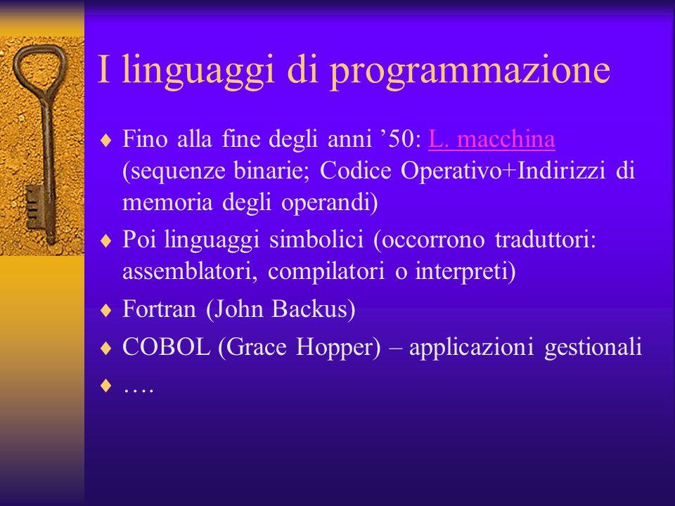I linguaggi di programmazione Fino alla fine degli anni 50: L. macchina (sequenze binarie; Codice Operativo+Indirizzi di memoria degli operandi)L. mac
