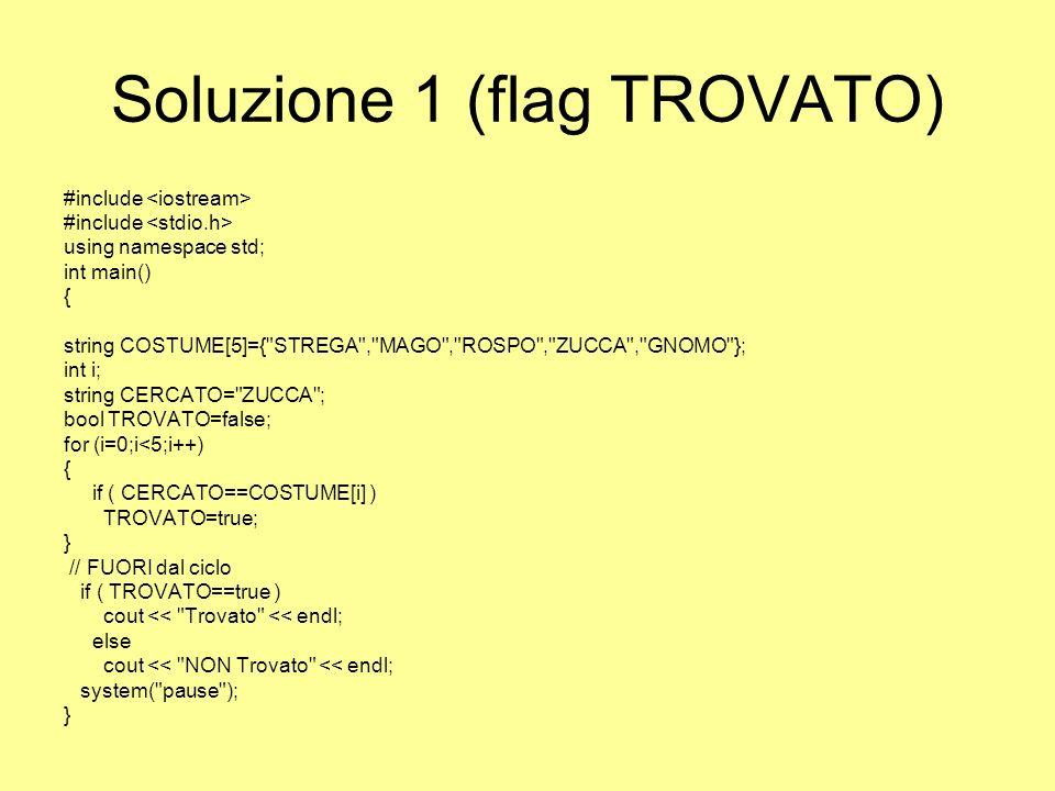 Soluzione 2 – Contatore di non trovato #include using namespace std; int main() { string COSTUME[5]={ STREGA , MAGO , ROSPO , ZUCCA , GNOMO }; int i; string CERCATO= ZUCCA ; int CONTA=0; for (i=0;i<5;i++) { if ( CERCATO==COSTUME[i] ) cout << Trovato << endl; else CONTA++; } // FUORI dal ciclo if ( CONTA==5 ) cout << NON trovato << endl; system( pause ); }
