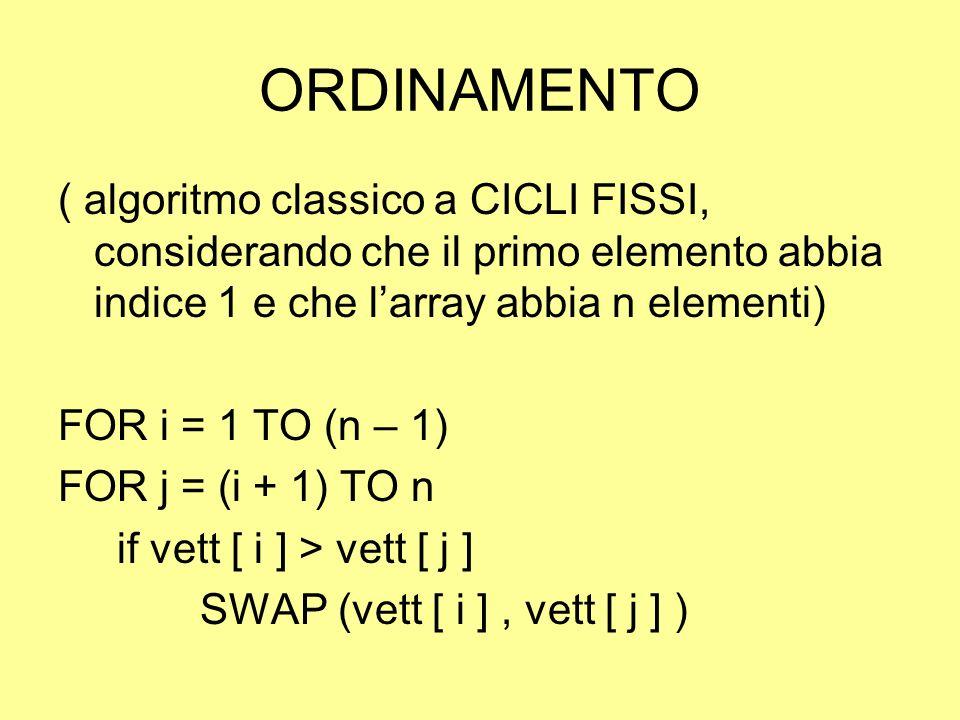 ORDINAMENTO ( algoritmo classico a CICLI FISSI, considerando che il primo elemento abbia indice 1 e che larray abbia n elementi) FOR i = 1 TO (n – 1)