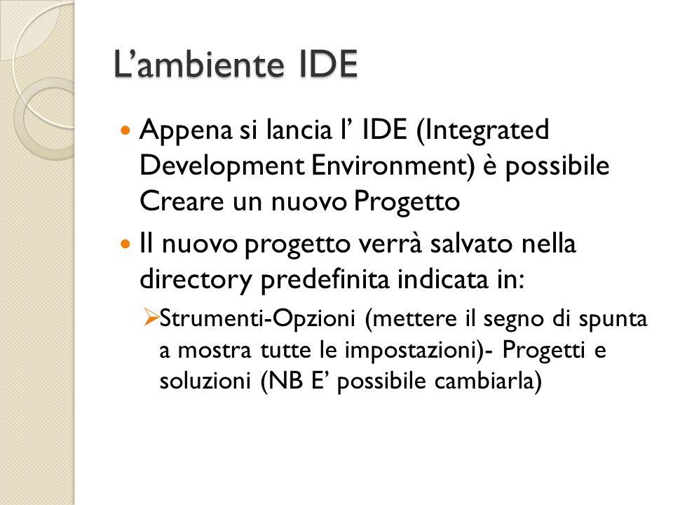 Lambiente IDE Appena si lancia l IDE (Integrated Development Environment) è possibile Creare un nuovo Progetto Il nuovo progetto verrà salvato nella d
