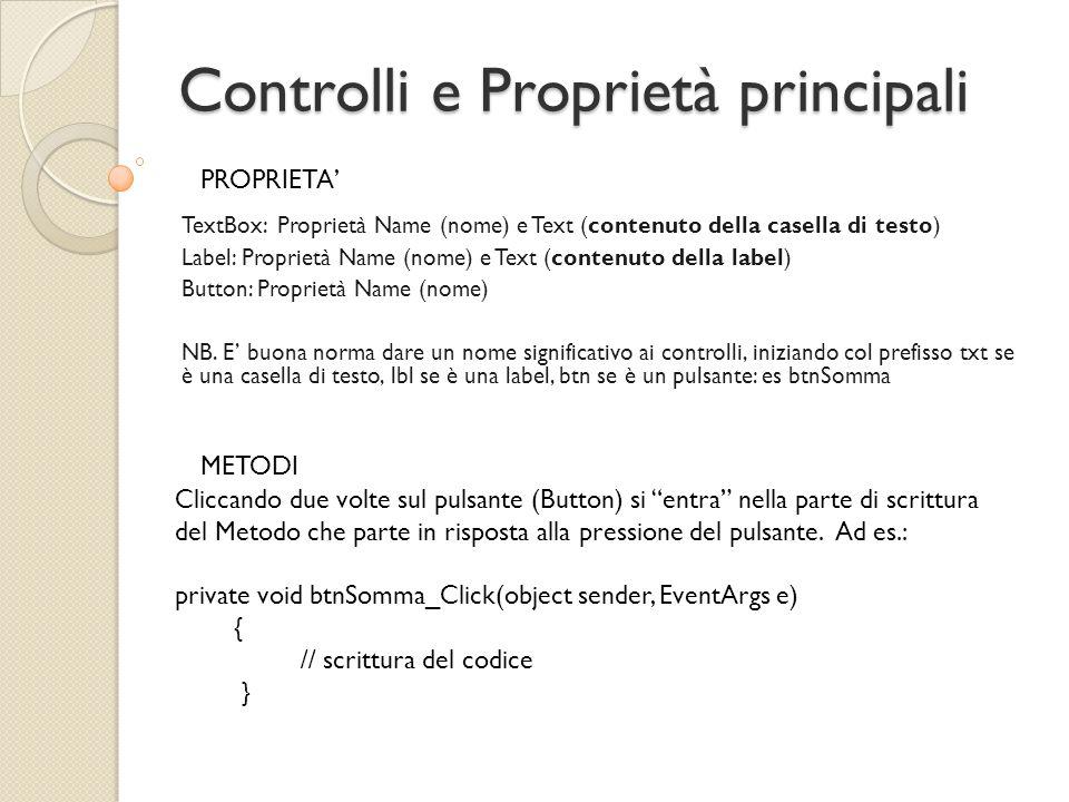 Somma di due numeri (ATTENZIONE) private void btnSomma_Click(object sender, EventArgs e) { lblRis.Text = txtNum1.Text + txtNum2.Text; } !?!