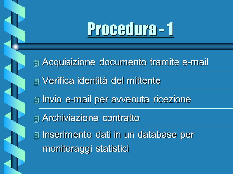 Procedura - 1 4 Acquisizione documento tramite e-mail 4 Verifica identità del mittente 4 Invio e-mail per avvenuta ricezione 4 Archiviazione contratto Inserimento dati in un database per monitoraggi statistici Inserimento dati in un database per monitoraggi statistici