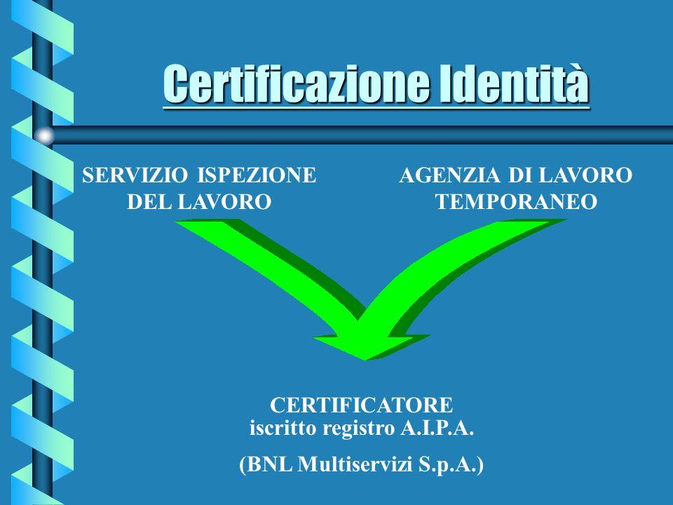 Certificazione Identità CERTIFICATORE iscritto registro A.I.P.A.