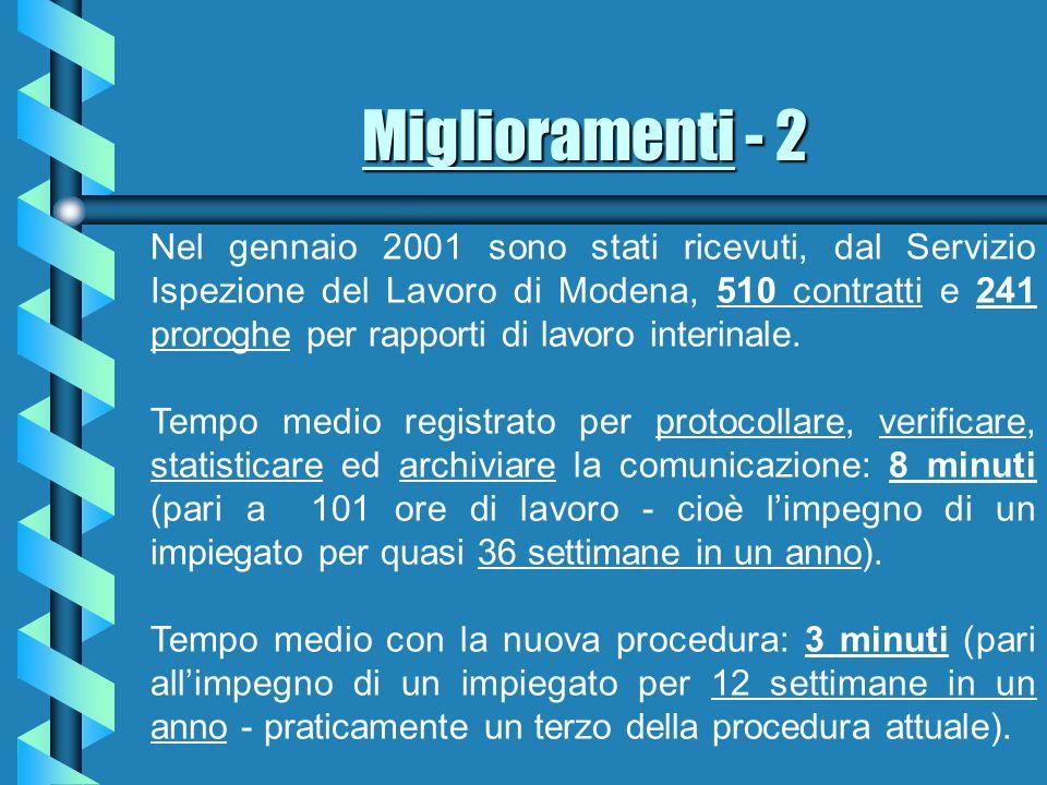 Miglioramenti - 2 Nel gennaio 2001 sono stati ricevuti, dal Servizio Ispezione del Lavoro di Modena, 510 contratti e 241 proroghe per rapporti di lavoro interinale.