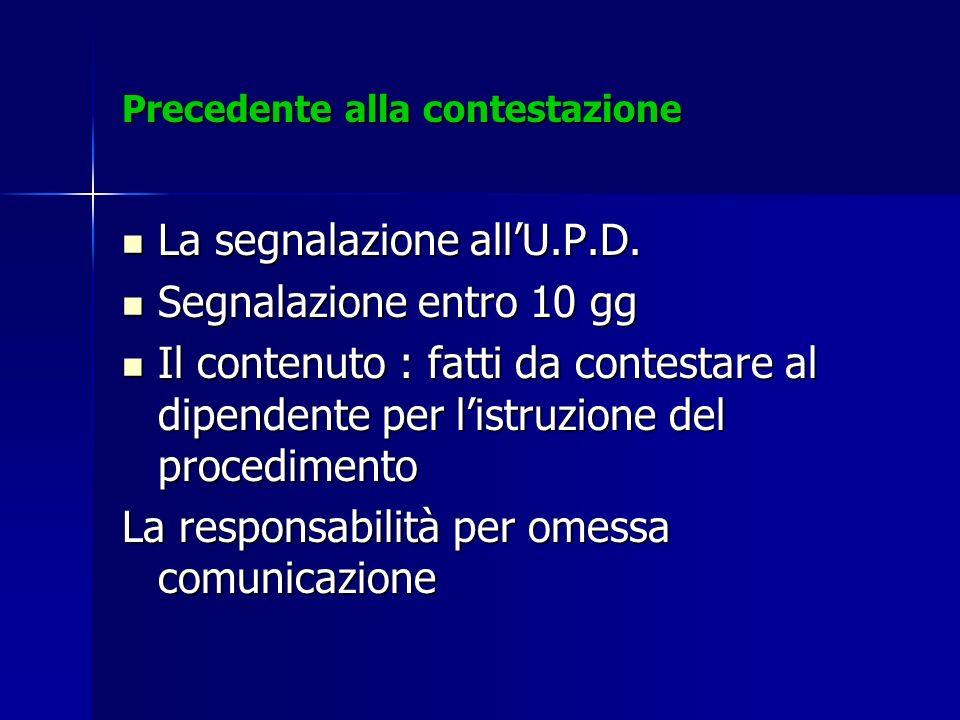 Precedente alla contestazione La segnalazione allU.P.D. La segnalazione allU.P.D. Segnalazione entro 10 gg Segnalazione entro 10 gg Il contenuto : fat