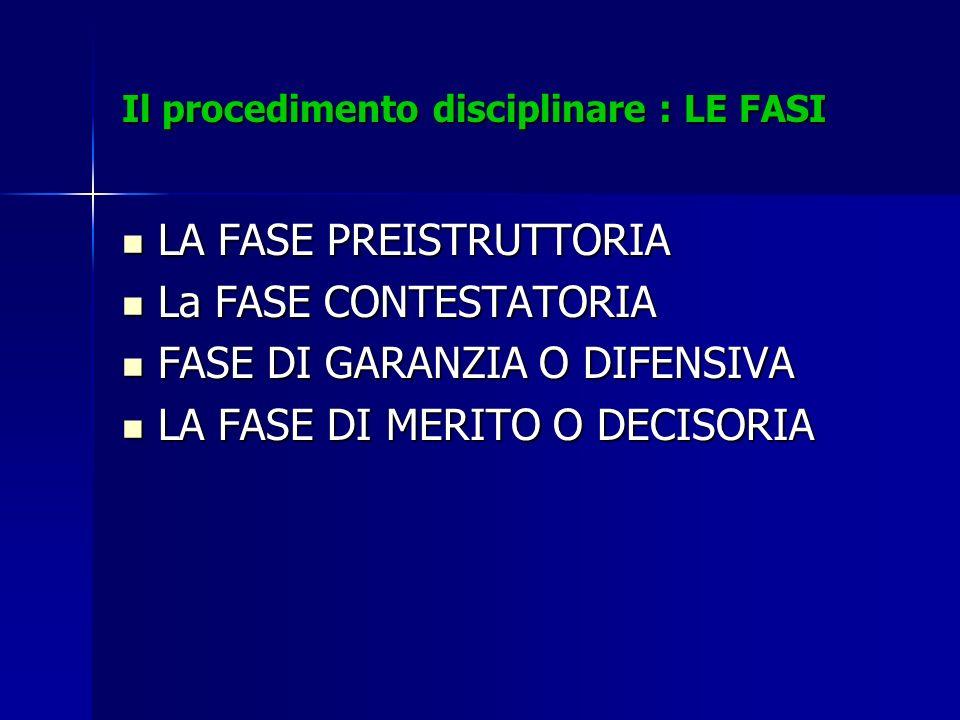 Il procedimento disciplinare : LE FASI LA FASE PREISTRUTTORIA LA FASE PREISTRUTTORIA La FASE CONTESTATORIA La FASE CONTESTATORIA FASE DI GARANZIA O DI