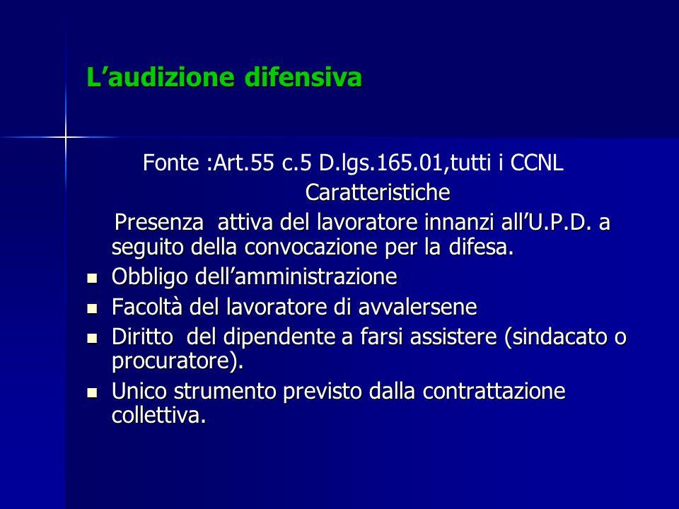 Laudizione difensiva Fonte :Art.55 c.5 D.lgs.165.01,tutti i CCNL Caratteristiche Caratteristiche Presenza attiva del lavoratore innanzi allU.P.D. a se