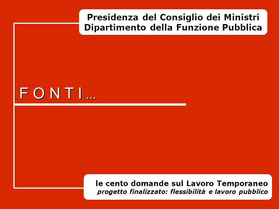 Presidenza del Consiglio dei Ministri Dipartimento della Funzione Pubblica Progetto finalizzato Flessibilità e Lavoro Pubblico LE CENTO DOMANDE SUL LA