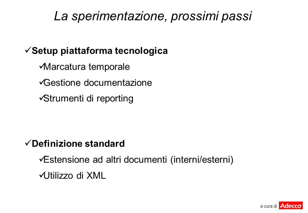 La sperimentazione, prossimi passi Setup piattaforma tecnologica Marcatura temporale Gestione documentazione Strumenti di reporting Definizione standa