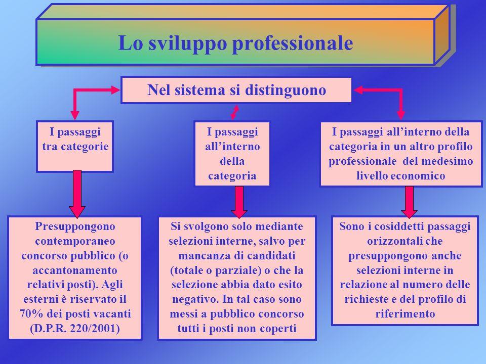 Lo sviluppo professionale Nel sistema si distinguono I passaggi tra categorie I passaggi allinterno della categoria I passaggi allinterno della catego