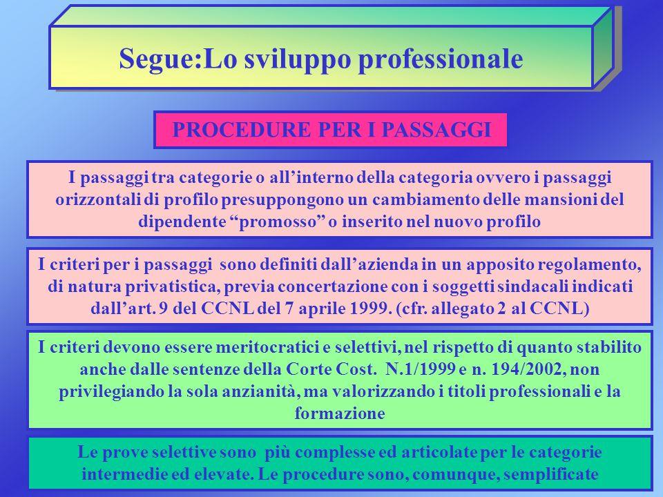 Segue:Lo sviluppo professionale I passaggi tra categorie o allinterno della categoria ovvero i passaggi orizzontali di profilo presuppongono un cambia