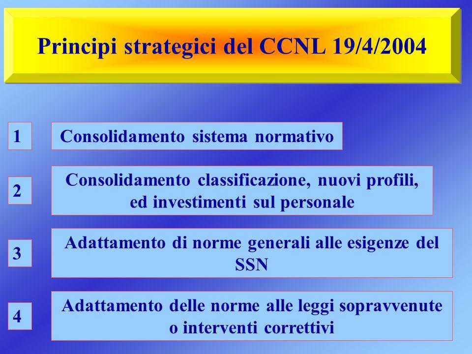 Principi strategici del CCNL 19/4/2004 Consolidamento sistema normativo Consolidamento classificazione, nuovi profili, ed investimenti sul personale A