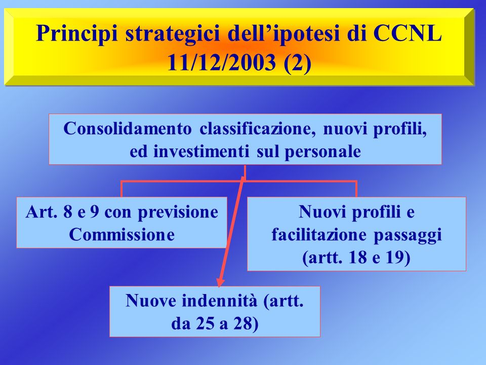 Principi strategici dellipotesi di CCNL 11/12/2003 (2) Art.