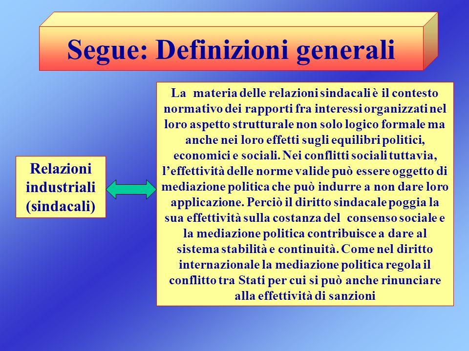 Segue: Definizioni generali Relazioni industriali (sindacali) La materia delle relazioni sindacali è il contesto normativo dei rapporti fra interessi