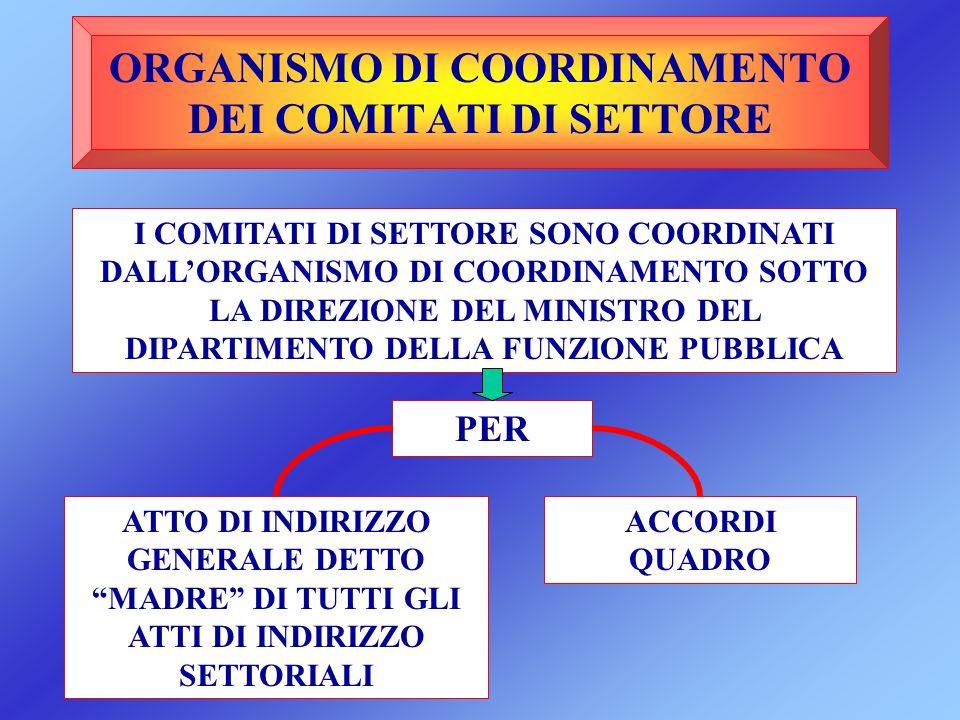 ORGANISMO DI COORDINAMENTO DEI COMITATI DI SETTORE I COMITATI DI SETTORE SONO COORDINATI DALLORGANISMO DI COORDINAMENTO SOTTO LA DIREZIONE DEL MINISTR