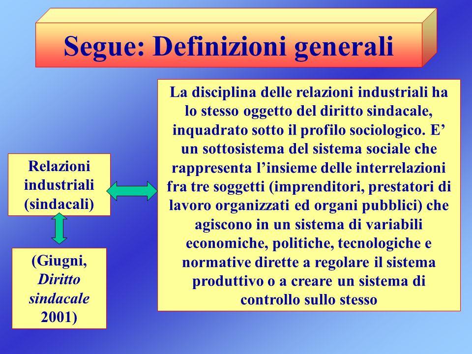 Segue: Definizioni generali Relazioni industriali (sindacali) La disciplina delle relazioni industriali ha lo stesso oggetto del diritto sindacale, in