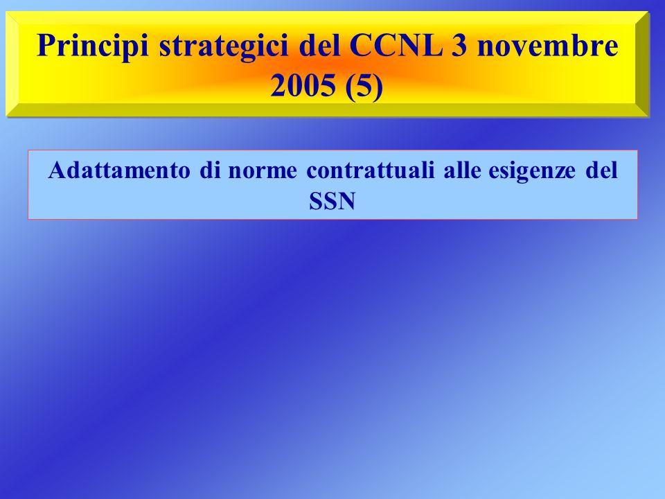Principi strategici del CCNL 3 novembre 2005 (5) Adattamento di norme contrattuali alle esigenze del SSN