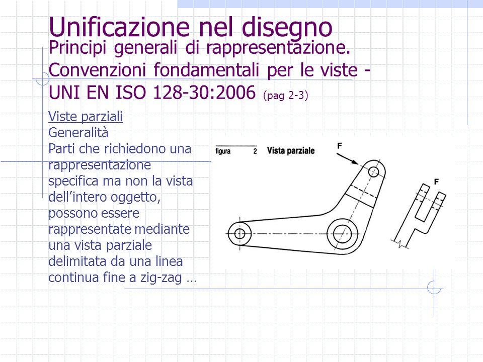 Unificazione nel disegno Principi generali di rappresentazione. Convenzioni fondamentali per le viste - UNI EN ISO 128-30:2006 (pag 2-3) Viste parzial