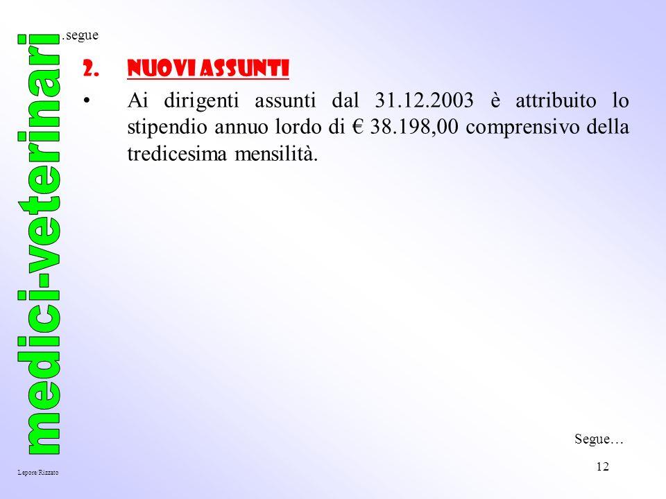 12 2.Nuovi Assunti Ai dirigenti assunti dal 31.12.2003 è attribuito lo stipendio annuo lordo di 38.198,00 comprensivo della tredicesima mensilità.