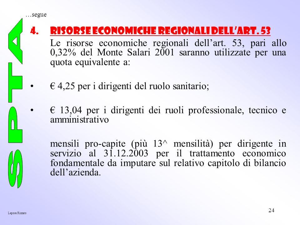 24 4.Risorse economiche regionali dellart. 53 Le risorse economiche regionali dellart.