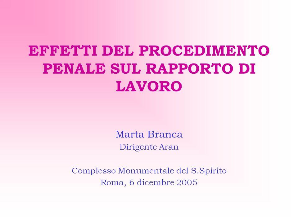 EFFETTI DEL PROCEDIMENTO PENALE SUL RAPPORTO DI LAVORO Marta Branca Dirigente Aran Complesso Monumentale del S.Spirito Roma, 6 dicembre 2005