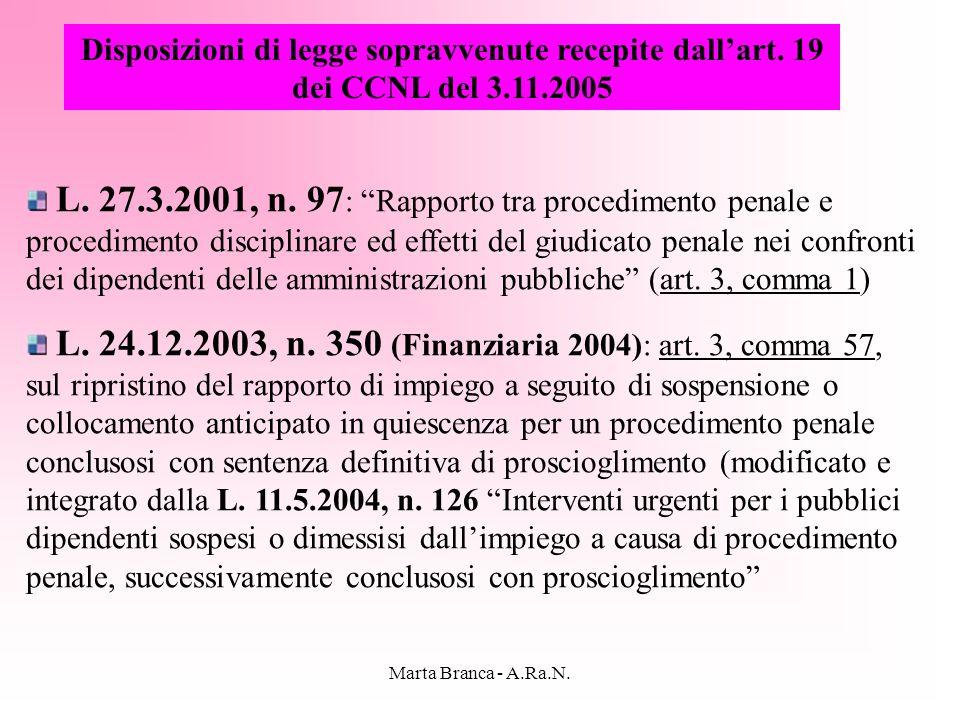 Marta Branca - A.Ra.N. Disposizioni di legge sopravvenute recepite dallart. 19 dei CCNL del 3.11.2005 L. 27.3.2001, n. 97 : Rapporto tra procedimento