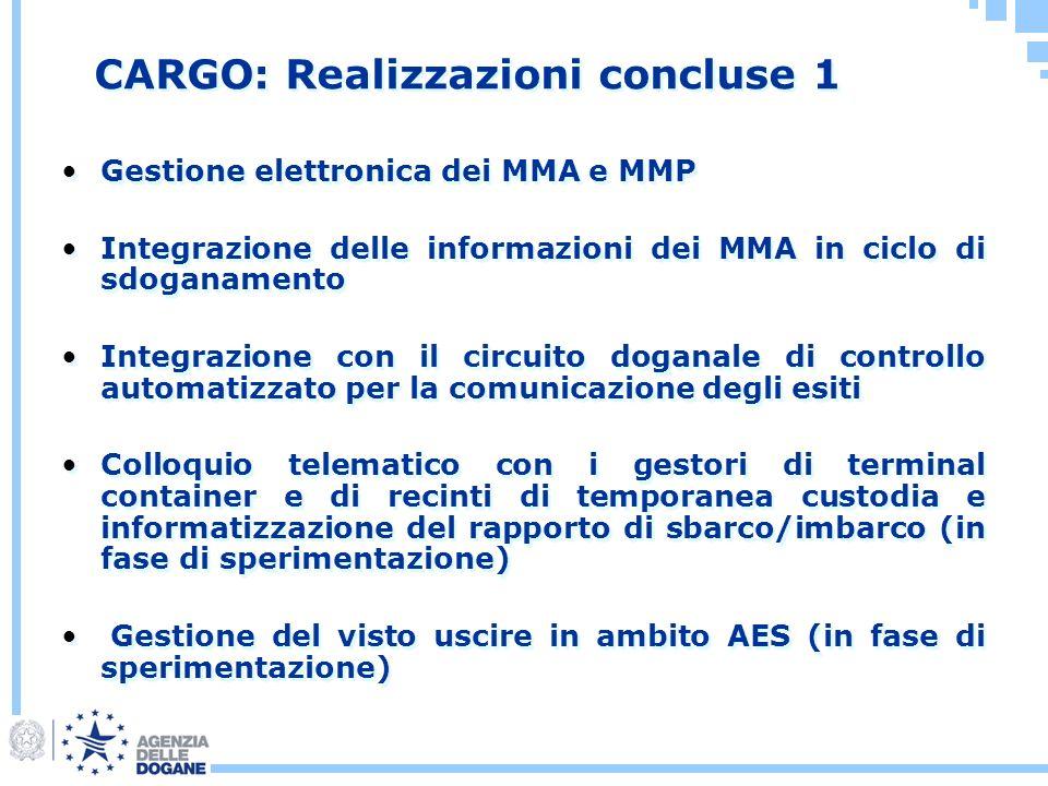 CARGO: Realizzazioni concluse 1 Gestione elettronica dei MMA e MMP Integrazione delle informazioni dei MMA in ciclo di sdoganamento Integrazione con i